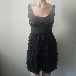 Arden B Black Sequin Ruffle Tier Party Club Dress